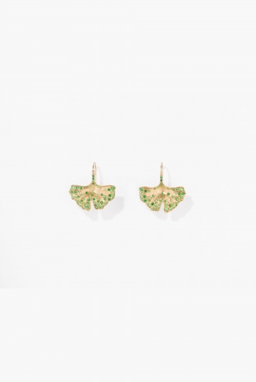 Tsavorites Ginkgo earrings