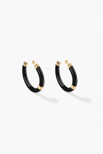 Black Katt hoop earrings