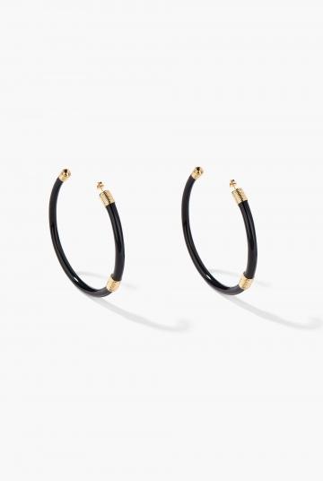 Large Black Katt hoop earrings