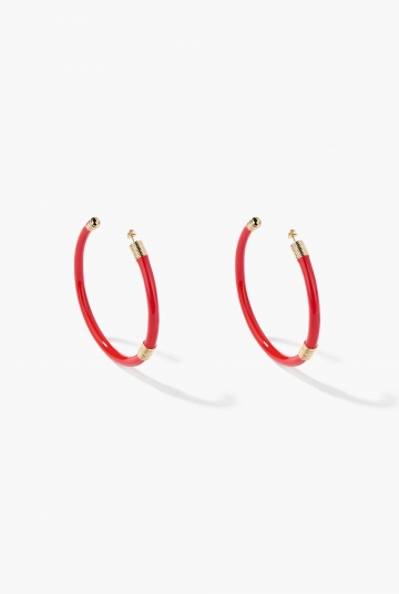 Large Red Katt hoop earrings