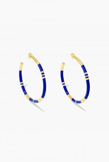 Blue lapis Positano hoop earrings