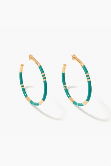 Green emerald Positano hoop earrings