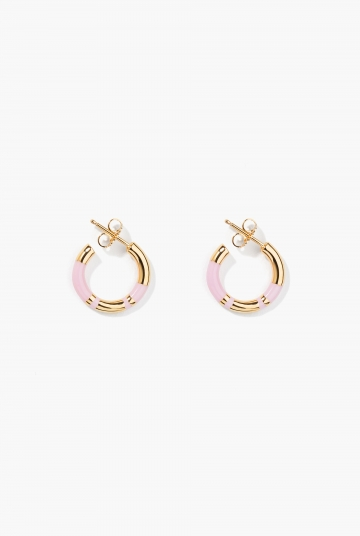 Baby pink Positano mini hoop earrings