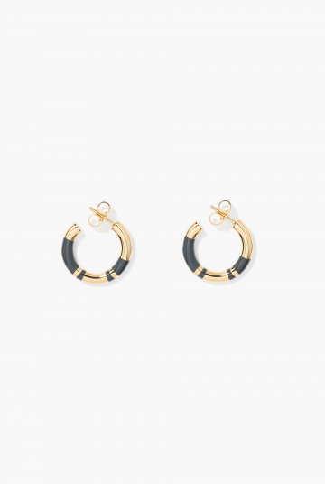 Grey Positano mini hoop earrings