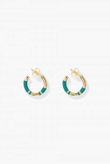 Green emerald Positano mini hoop earrings
