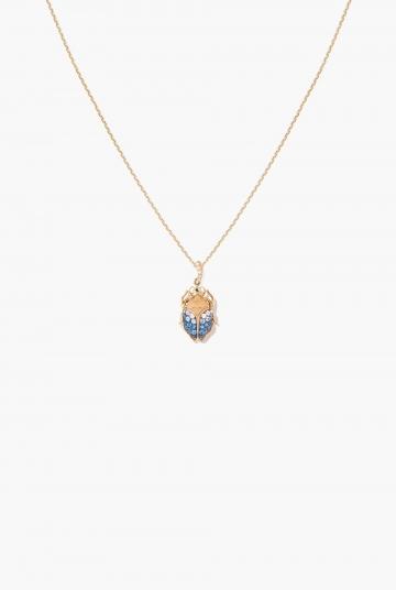 Blue sapphires Beetle pendant