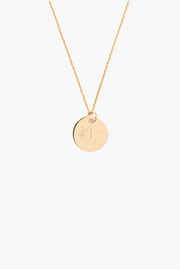 Gold medal with elephant engraving