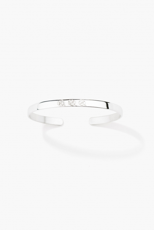 Silver engraved bangle - 3 clovers
