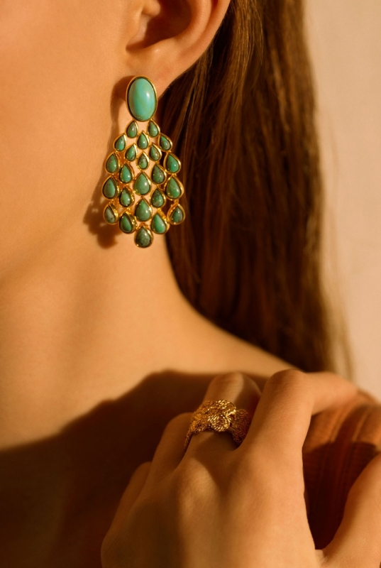 Cherokee earrings and Brandebourg rings
