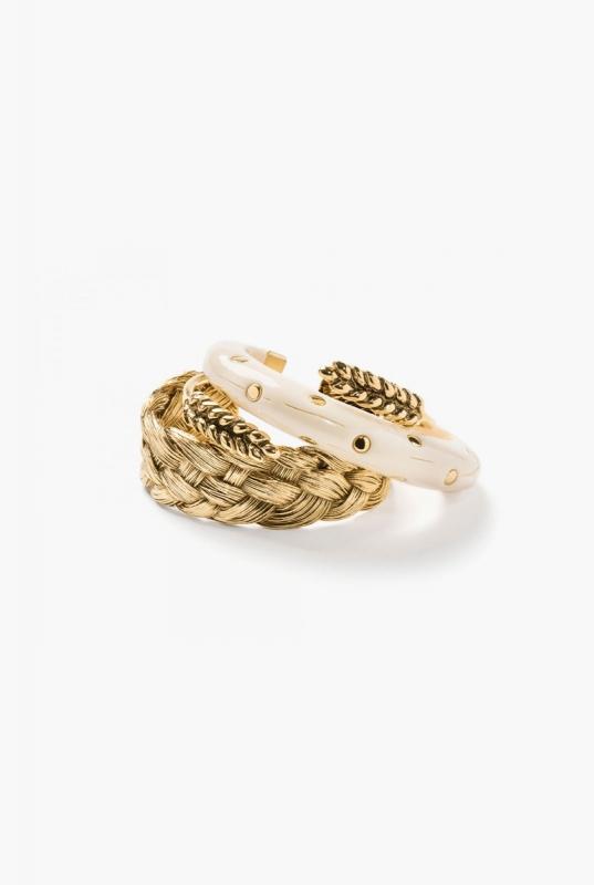 Braided, Wheat and Caftan Moon bracelets