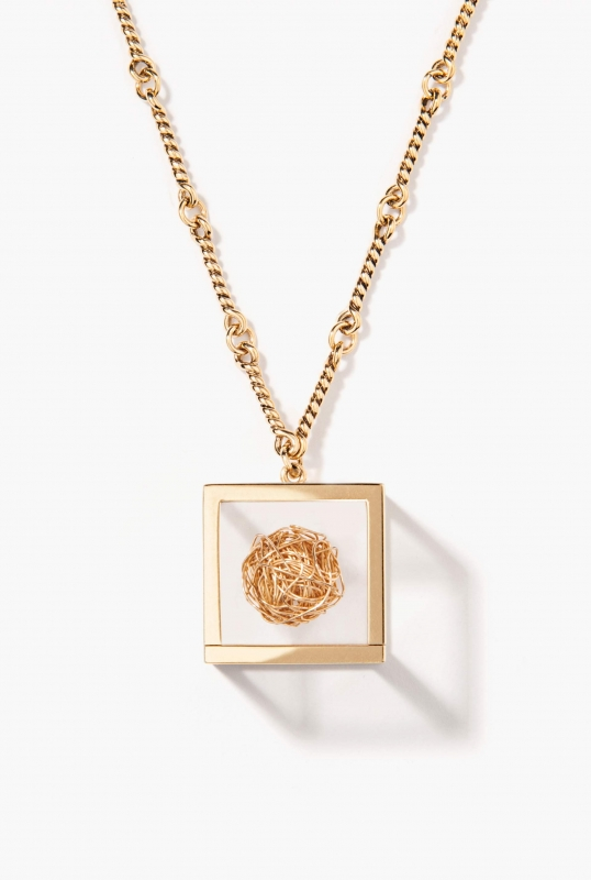 Gold ball Amazone Box pendant