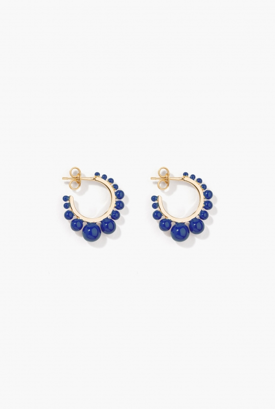 Dark blue Ana mini hoop earrings