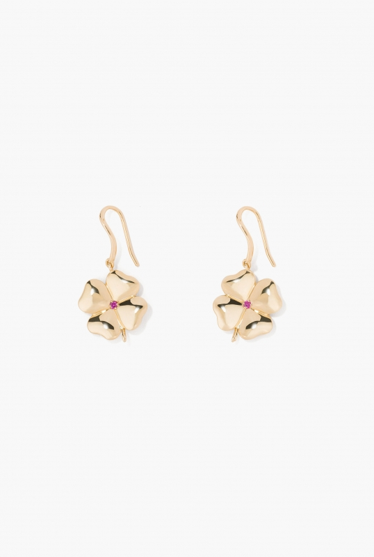 Pink sapphire Clover earrings