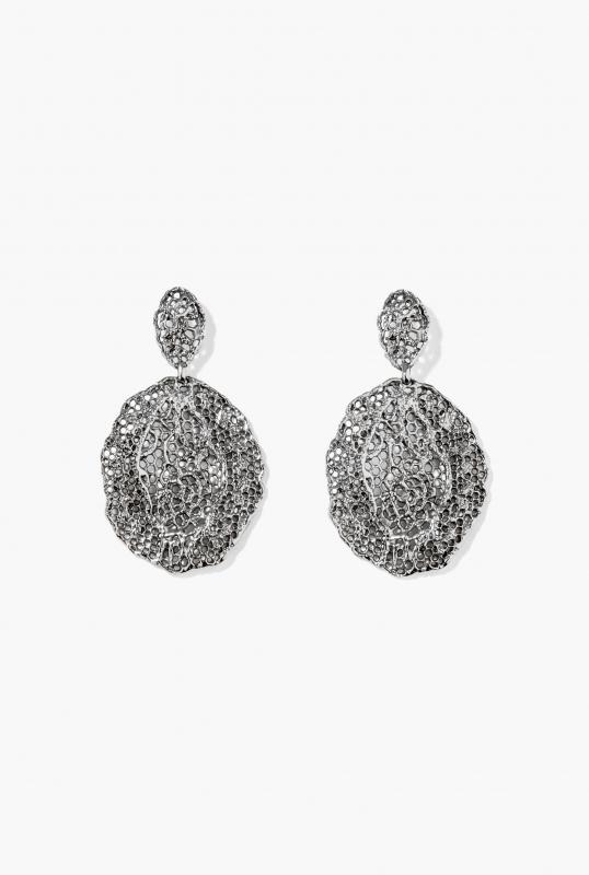 Black silver Vintage Lace earrings
