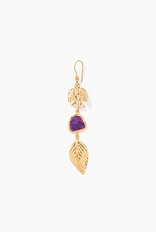 yellow-gold-plated-single-earring-with-purple-turquoise-composite-dove-and-leaf-charms