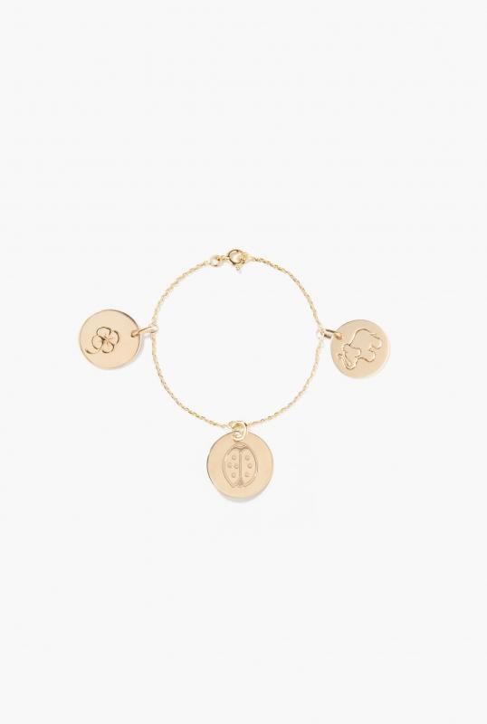 Gold 3 medals bracelet