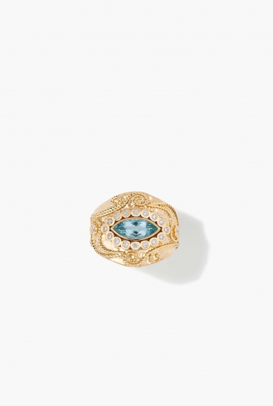 Cashmere aquamarine and diamonds Ring