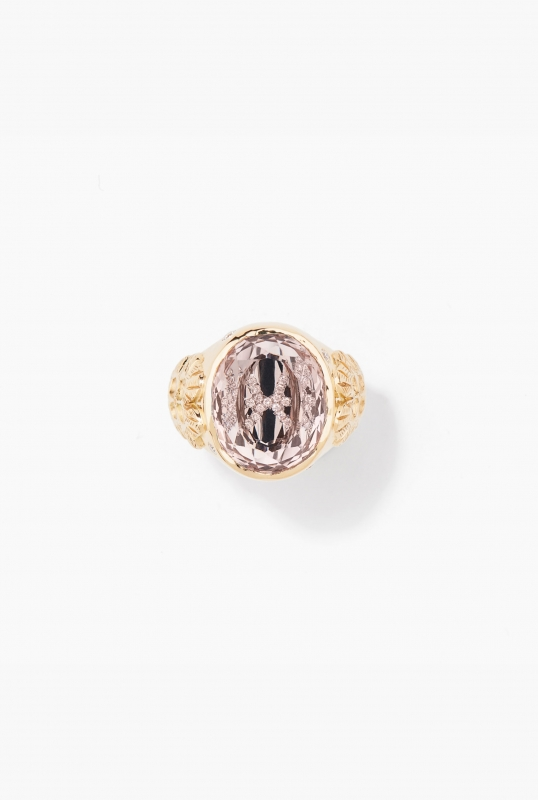 Morganite and diamond clover ring