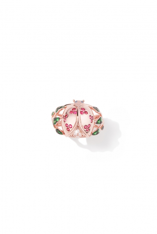 Coccinelle foliage ring Pink gold