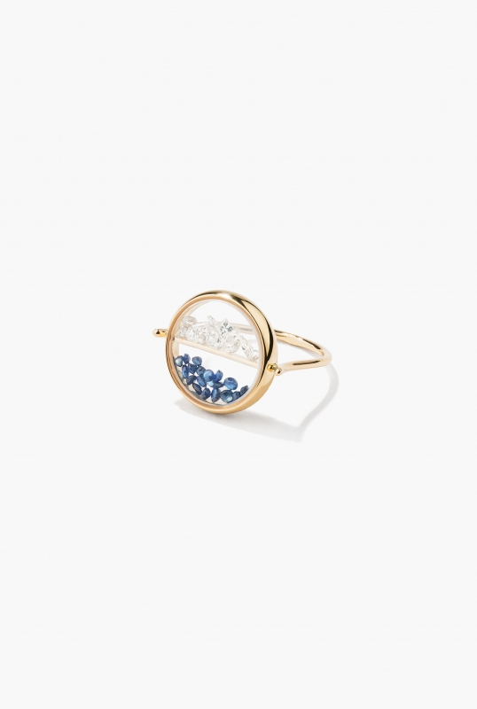 Diamonds and blue sapphires Chivor ring