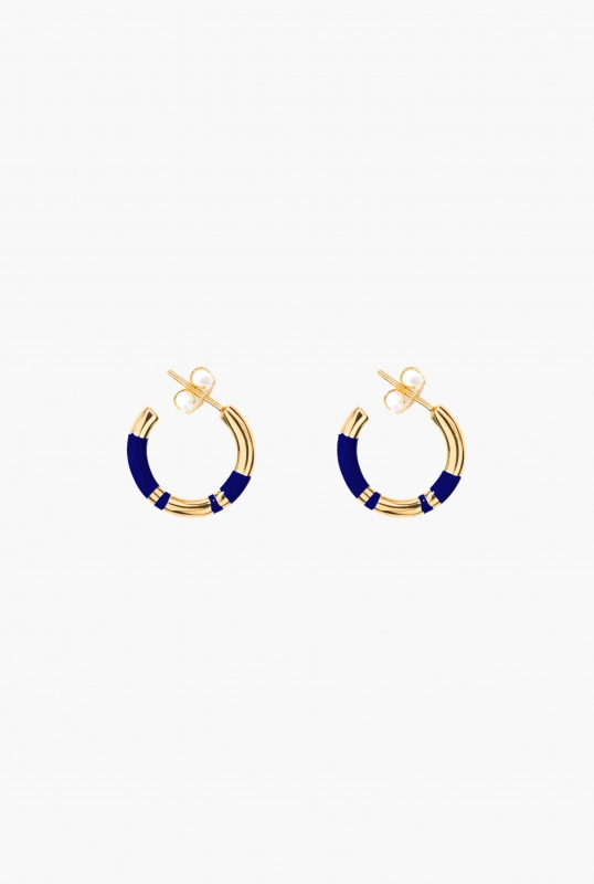 Blue lapis Positano mini hoop earrings