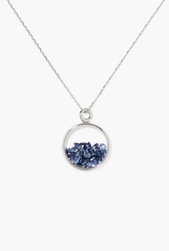 Blue Sapphires Baby Chivor pendant white gold