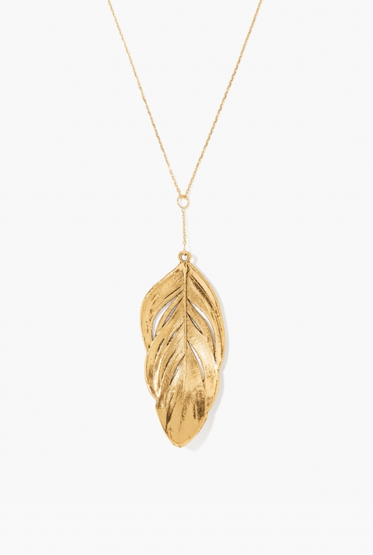 Gold swan feather necklace