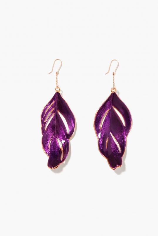 purple swan feather earrings large model