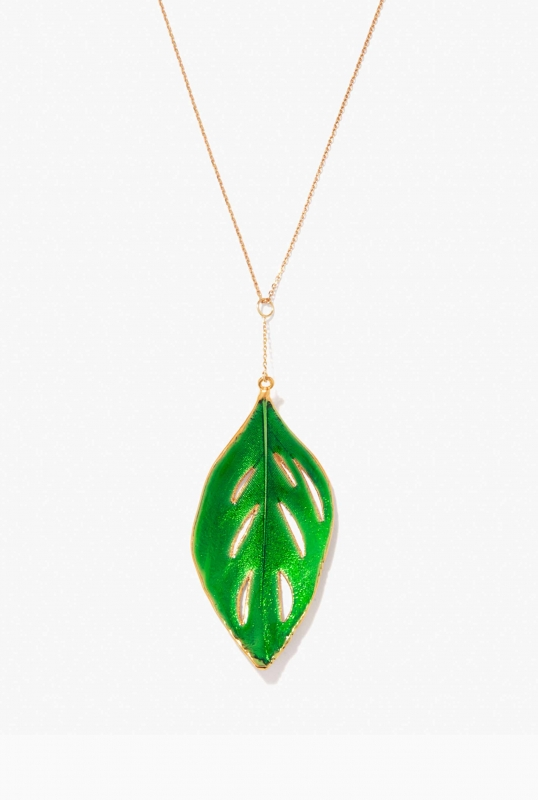 emerald swan feather necklace