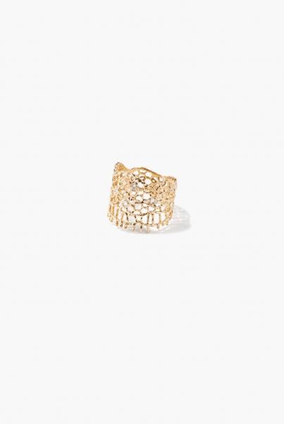 Yellow gold & diamonds Lace ring