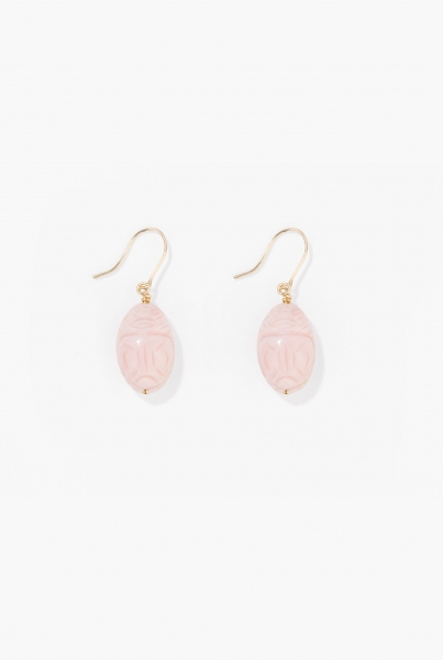 Pink opal Scarab earrings