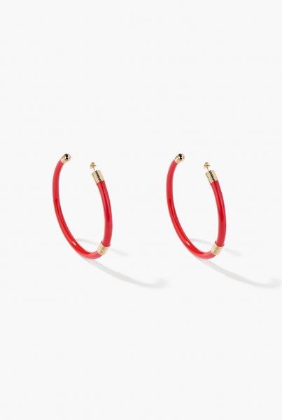 Large Red Katt hoop earrings