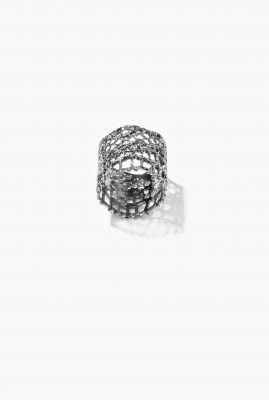 Black silver Vintage Lace ring