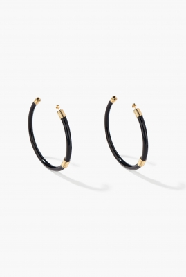 Large Black Katt hoop earrings