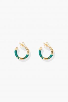Green emerald Positano mini hoop earrings