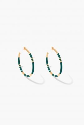 Green emerald Positano hoop earrings