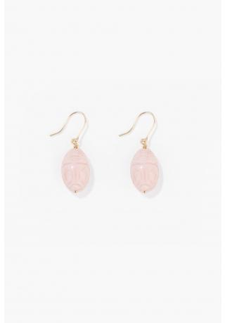 Pink opal Scarab earrings