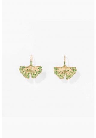Tsavorites Ginkgo earrings